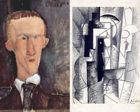 Portraits de Cendrars par Modigliani et d'Apollinaire par Picasso